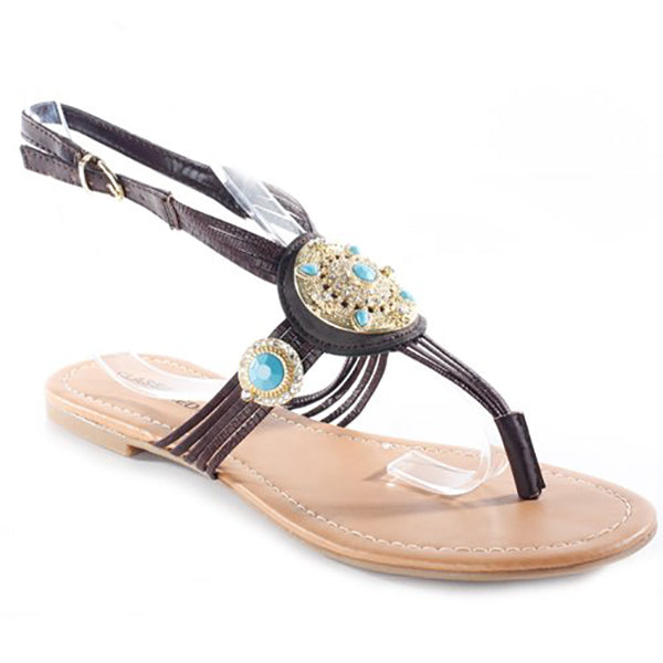 GAZA Jeweled Thong Sandal in Brown at FLYJANE | Brown Beaded Thong Sandals | Brown Flats | Brown Sandals | Cheap Sandals | Jeweled Sandals | Sandals under $25