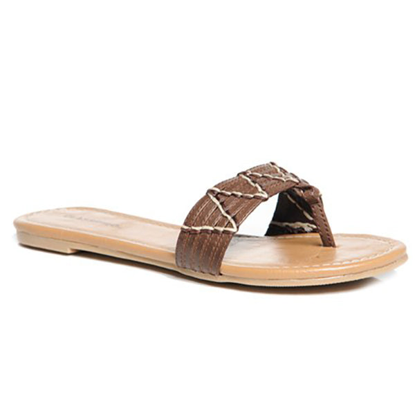 ARAMIS Thong Slides in Brown at FLYJANE | Cute Thong Sandals | Brown Slides | Brown Sandals | Cute Sandals under $25 | Shop FLYJANE on Instagram
