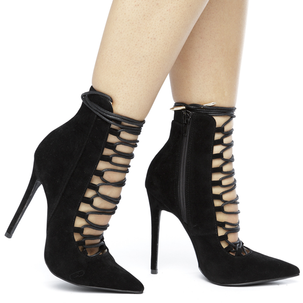 RUMI Black Faux Suede Lace Up Bootie at FLYJANE | Cute Black Suede Booties  | Shoe Republic LA Black Suede Bootie | Kim Kardashian Booties | Black Heels