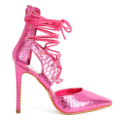 Red Kiss RUNWAY Metallic Lace Up Pumps in Pink Metallic available at FLYJANE