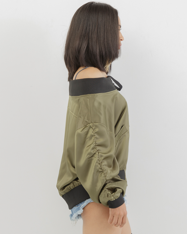 LET IT BOMB SATIN JACKET - OLIVE