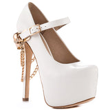 ZiGINY Skull Jane Platform Pump in White at FLYJANE