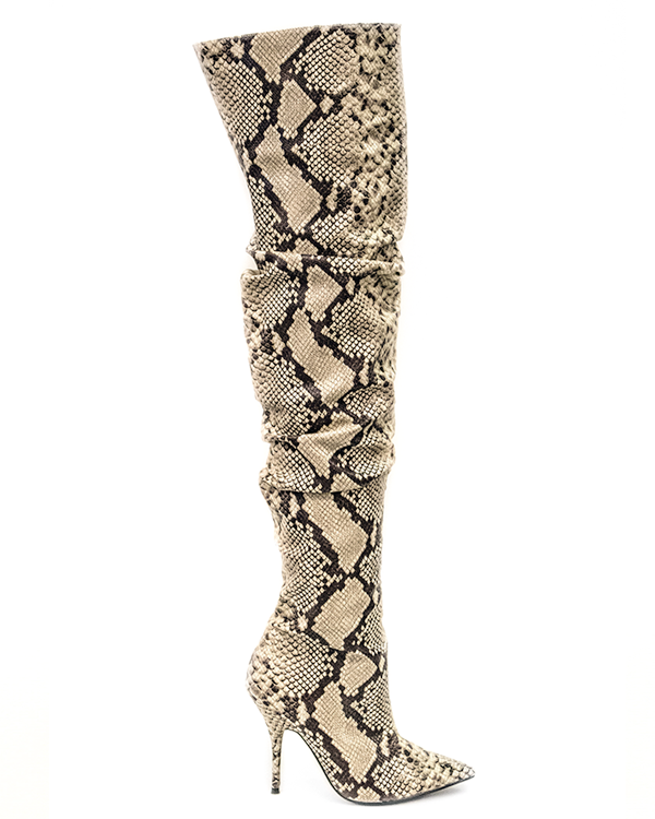 VIPER ROOM Snake Thigh High Boot at FLYJANE | Snake print Over the Knee Boots under $200 | Snakeskin Designer Thigh High Boots | Cute Boots for Less at FLYJANE