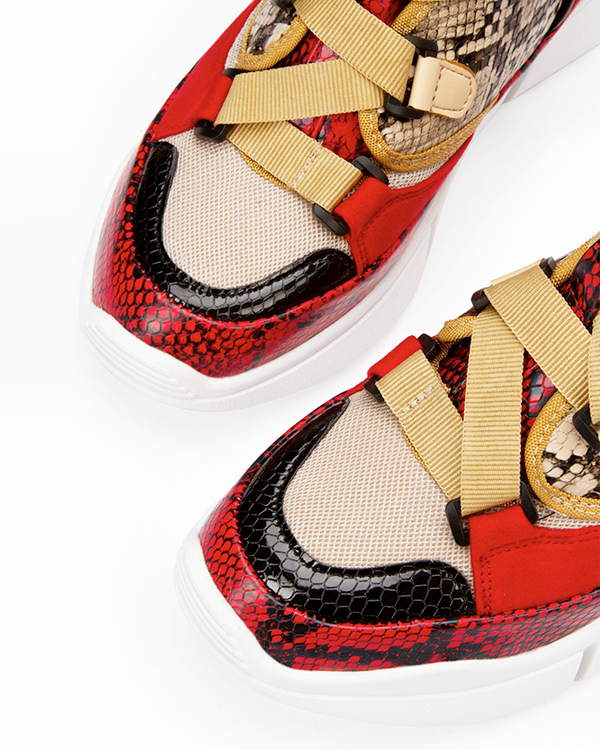 HIGH LIFE Snake Print Women's Sneakers | FLYJANE | Cute Designer Inspired Utility Sneakers for High Class Women | Snake Print Styling | Red and Black Snake Print Sneakers | Shop FLYJANE for the Cutest Pieces in FASHION!