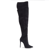 MIRA Thigh High Boot in Black Faux Suede at FLYJANE | Black Over the Knee Boots under $100 | Black Thigh High Boots | Cute Boots for Less at FLYJANE
