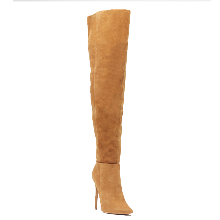 MIRA Thigh High Boot in Tan Chestnut Faux Suede at FLYJANE | Black Over the Knee Boots under $100 | Tan Suede Thigh High Boots | Cute Boots for Less at FLYJANE