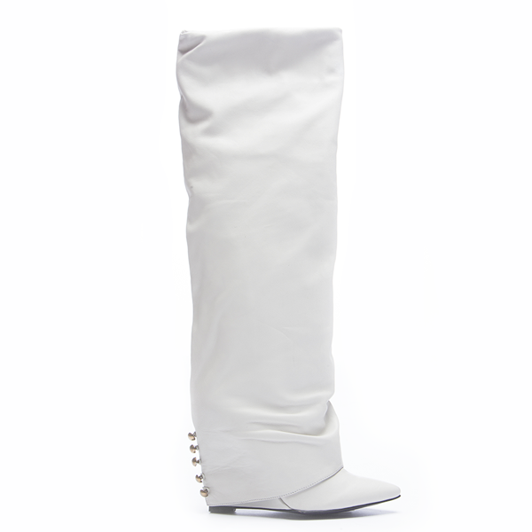 LONDON TRASH SOLANGE KNEE BOOT - WHITE