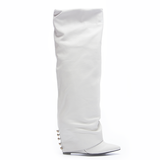 LONDON TRASH SOLANGE KNEE BOOT IN WHITE AT SHOPFLYJANE.COM