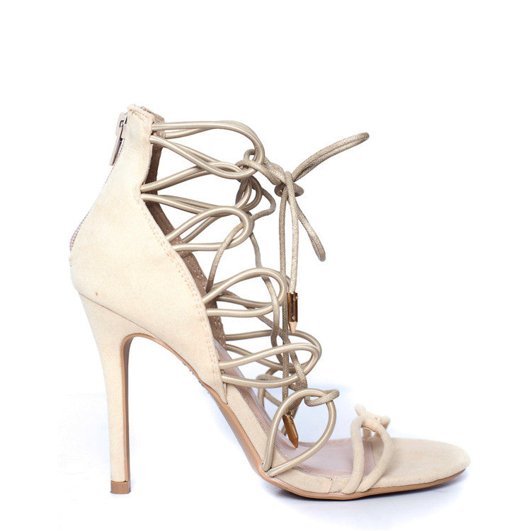 CAMEO Strappy Sandal in Nude at FLYJANE | Open Toe Nude Sandals High Heels | Pepe Sandal | Nude Heels | Follow us on Instagram at @FlyJane