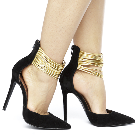 SPLENDID Heel in Black at FLYJANE | Black Heels under $50 | Designer Black Heels with Gold Details | Celebrity Black Heels for Red Carpet | Contemporary Shoes