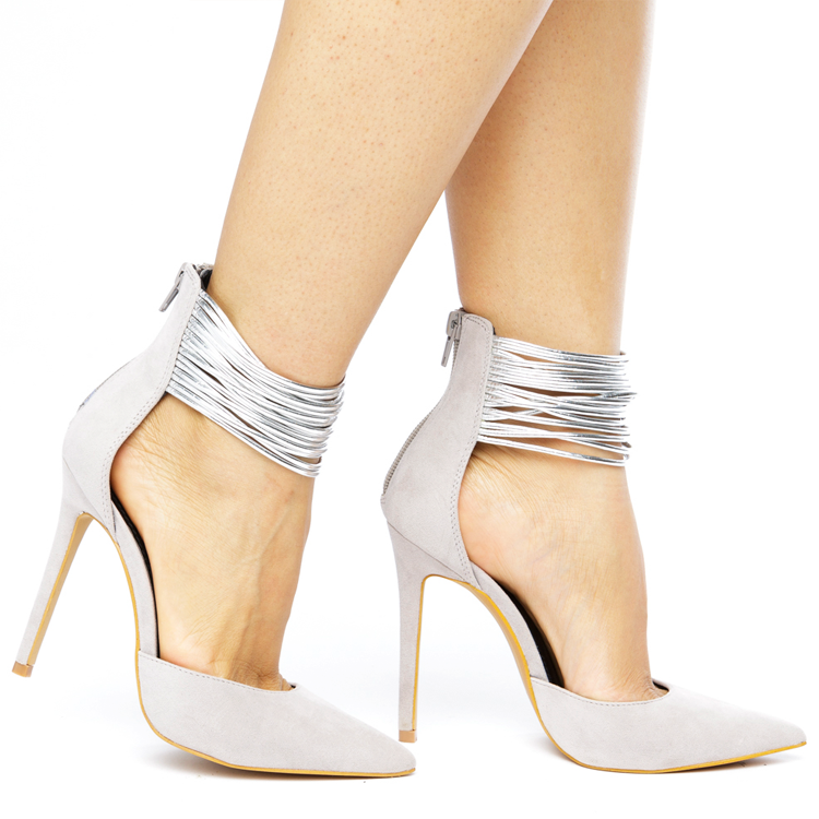 SPLENDID Heel in Grey and Silver Straps at FLYJANE | Grey Heels under $50 | Designer Grey Heels w/ Silver Details | Celebrity Grey Heels Red Carpet | Grey Pumps