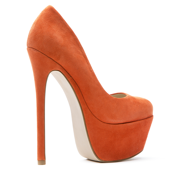 Zigi Girl SPYGLASS Platform Pump in Orange Suede at FLYJANE