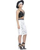 NIGHT TRAIN Sequin Midi Skirt in Silver at FLYJANE
