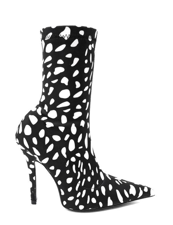 STAND OUT Spotted Lycra Booties in Black White at FLYJANE | Black and White Spotted Booties | Pointed Toe Lycra Boots | Fall Booties at ShopFlyJane.com