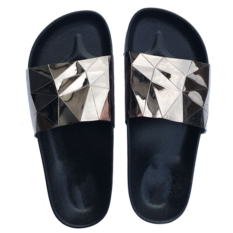 STARGAZER Beach Slides in Pewter at FLYJANE | Pewter Metallic Sandals | Cute Beach Slides | The Stargazer Slides are made in a trippy holographic metallic pewter and feature a