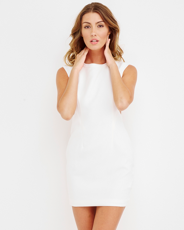 STELLA Cutout Dress in White at FLYJANE