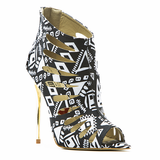 Red Kiss SUMMER DANCE Lasercut Bootie in Black White at FLYJANE