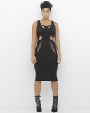 SUSANNA Sheer Cutout Midi Dress in Black at FLYJANE | Cute Summer Dresses under $100 | Black Cocktail Party Dress | Rehab Dress | Little Black Dress |