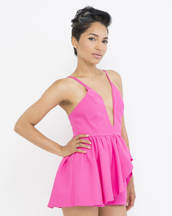 SWIRL WINDS Ruffled Romper in Hot Pink at FLYJANE | Rompers and Jumpsuit at FLYJANE | Hot Pink Romper | Ruffled Structured Romper in Pink | Pretty in Pink
