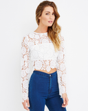 Endless Rose | LANA SWEETHEARTS Lace Blouse in White at FLYJANE