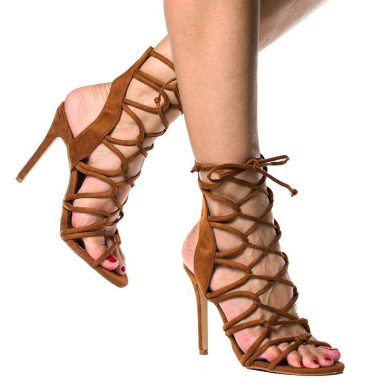 AMICA Strappy Faux Suede Sandals in Tan at FLYJANE | Zara Strappy Lace Up Sandals Heels | Tan Strappy Sandals under $50 | Keywest Sandals Strappy Heels