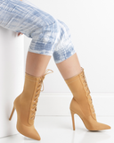 BAHLA Stretch Lycra Ankle Bootie in Tan by The Loud Factory | FLYJANE | Nude Lace Up Booties | Kim Kardashian Lace Up Ankle Boots | Kylie Jenner Ankle Booties