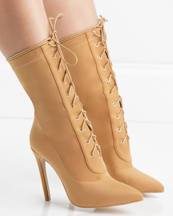 141b141c4d ... BAHLA Stretch Lycra Ankle Bootie in Tan by The Loud Factory | FLYJANE |  Nude Lace ...