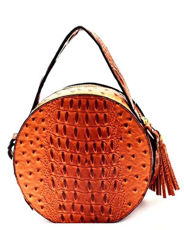 NARNI Ostrich Embossed Round Crossbody Bag in Tan at FLYJANE | Ostrich Crossbody Bag | Tan Bron Round Bag | Cute Statement Bags at ShopFlyJane.com