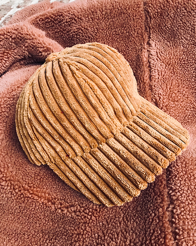 DARCI Corduroy Cap in Tan Chestnut at FLYJANE | Cute Cozy Corduroy Baseball Caps for Loungewear or Bad Hair Days Cap | Shop Cute Accessories at FLYJANE