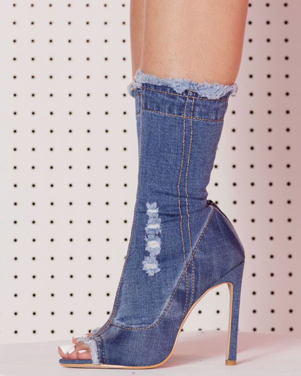 TAYLOR Stretch Denim Booties by The Loud Factory for FLYJANE | Denim Jean Open Toe Booties Ankle Boots | Summer Trends Denim Streetstyle | Denim Boots at FLYJANE