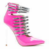 Red Kiss Total Control Patent Bootie in Neon Pink available at FLYJANE