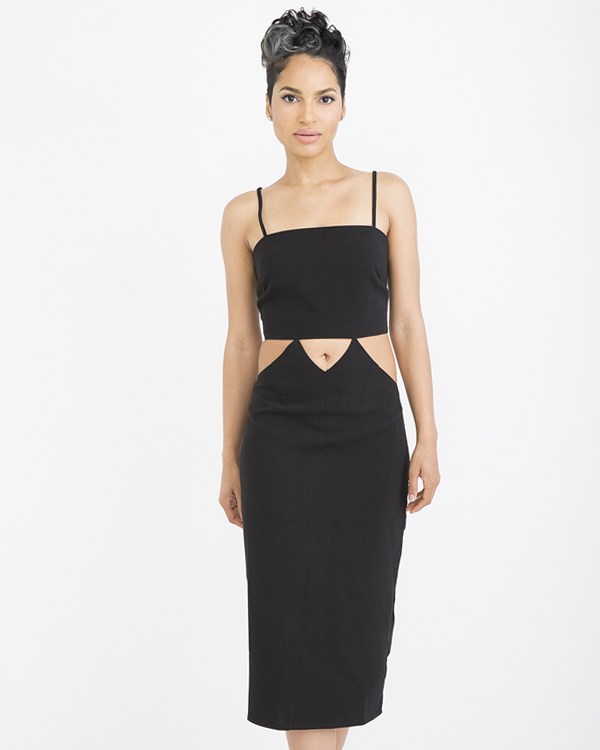 GLAMOUROUS JENNY Cutout Midi Dress in Black at FLYJANE | Midi Dresses | Cutout Dresses | Little Black Dress | Summer Dresses at FLYJANE