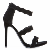 LE CHIC Wavy Sandal in Black at FLYJANE | Prada Wavy Triple Strap Suede Sandal | Cute Designer Sandals under $50 | Designer Inspired Fashion | Black Stilettos
