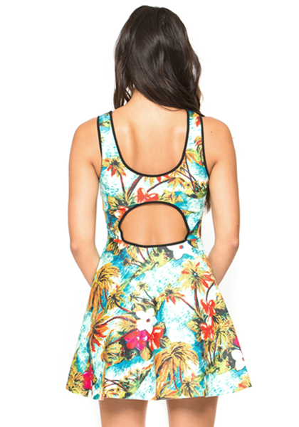 TAHITIAN SUMMER SKATER DRESS AT FLYJANE