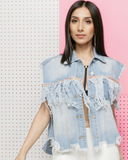 COMING OUT SWINGING Fringe Cropped Denim Vest The #FADE Denim Shop at FLYJANE | Light Denim Streetstyle Denim Cropped Vest with Fringe Detail | Shop FADE NOW