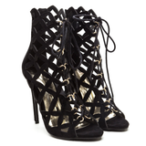 BRIELLE Faux Suede Lattice Bootie in Black at FLYJANE | Black Open Toe Lace up Bootie | Cute Booties for Fall under $50 at FLYJANE | Black Cutout Booties