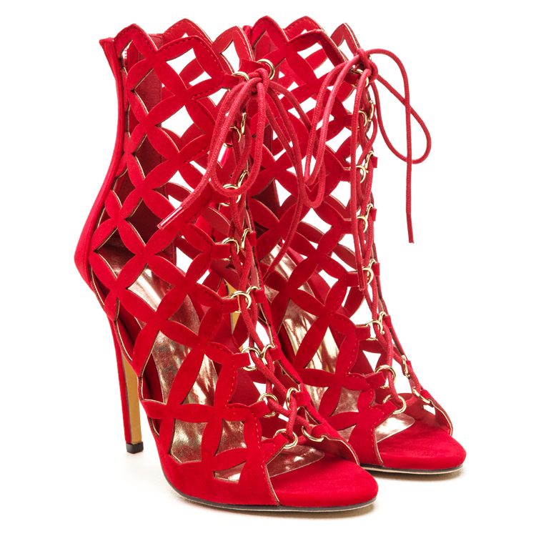 BRIELLE LATTICE BOOTIE - RED
