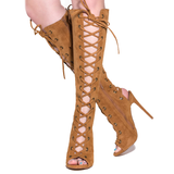 BAXTER Lace Up Knee Boot in Tan at FLYJANE | Designer Inspired Lace Up Knee Boot in Chestnut Tan | Kylie Jenner Lace Up Boot | Follow us Instagram at @FlyJane