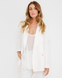 Ark & Co | LUXE LIFE One Button Off White Double Breasted Blazer at FLYJANE