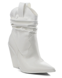 IRENE Cowgirl Booties in White at FLYJANE | White Patent Leather Cowboy Booties | Cape Robbin Reflection Boots | Shop Cute Statement Booties at FLYJANE