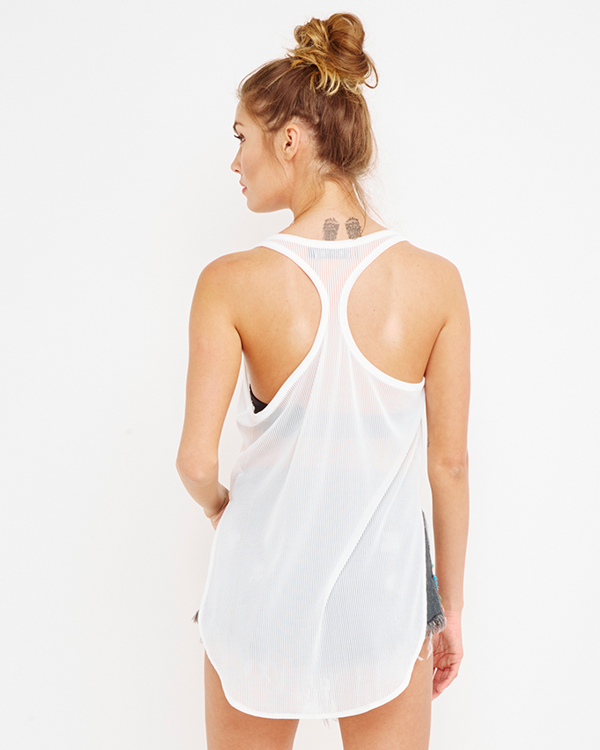 THE SIMPLE LIFE Racerback Tank Top in White at FLYJANE | Spring Fashion 2015