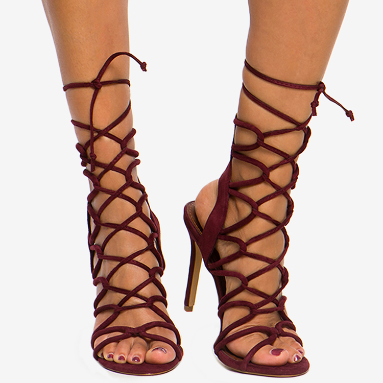 AMICA LACE UP SANDAL - WINE