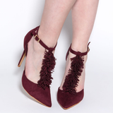 AMILYA Fringe T-Strap Pump in Wine at FLYJANE | Cute Wine Burgundy Fringe T-Strap Pump | FlyJane has the cutest shoes on the Web under $50 | ShopFlyJane.com