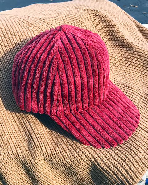 DARCI Corduroy Cap in Wine Burgundy at FLYJANE | Cute Cozy Corduroy Baseball Caps for Loungewear or Bad Hair Days Cap | Shop Cute Accessories at FLYJANE | Velvet Baseball Cap | Wine Burgundy Velour Cap