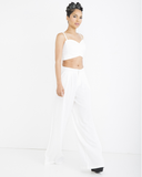 STELLA Two Piece Linen Wide Leg Trouser Set in Off White at FLYJANE | Wide Leg Pants | Womens Linen Pants | Two Piece Sets