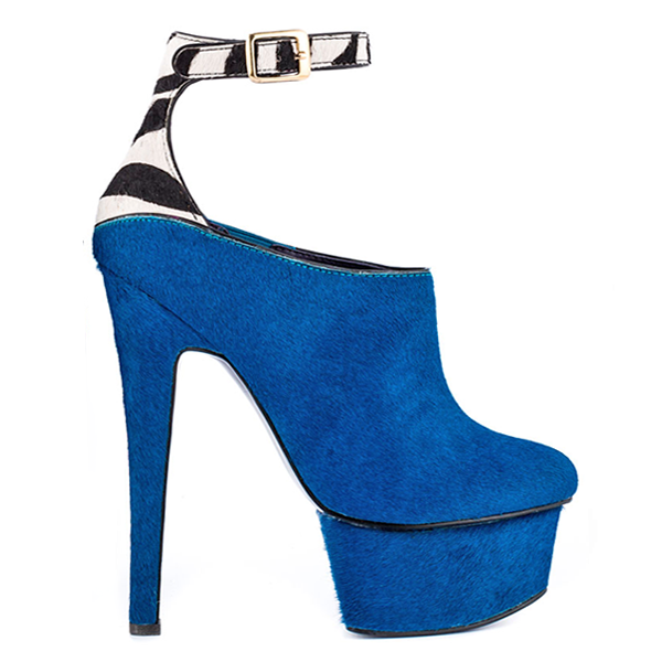 London Trash WYNNE Platform Bootie in Teal Pony at FLYJANE