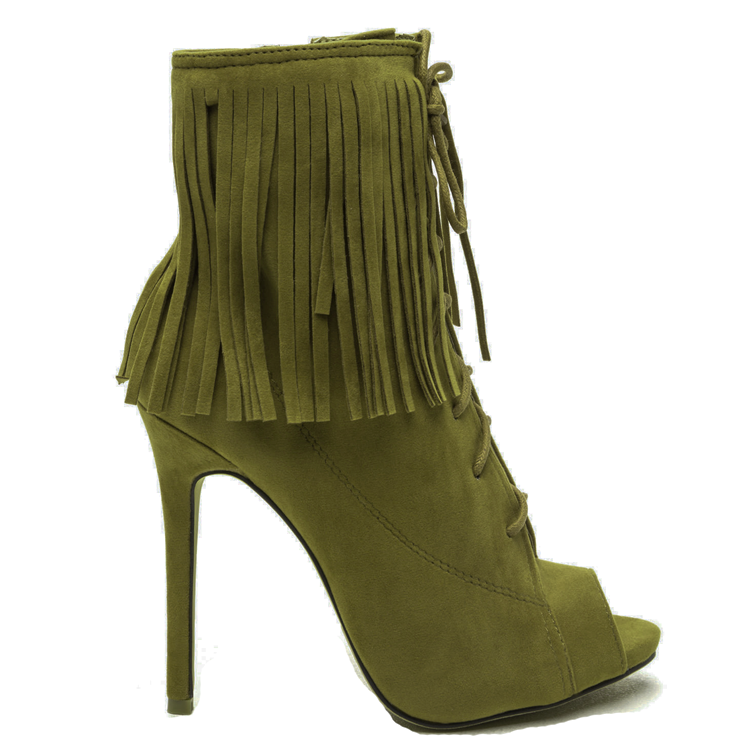 THE ROXY Fringe Bootie in Olive at FLYJANE | Fringe Boots | Suede Fringe Booties for Fall | Shoe Republic LA POMPEO Bootie | Fringe Ankle Boots under $100