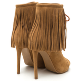 THE ROXY Suede Fringe Bootie in Tan at FLYJANE | Fringe Boots | Suede Fringe Booties for Fall | Shoe Republic LA POMPEO Bootie | Fringe Ankle Boots under $100