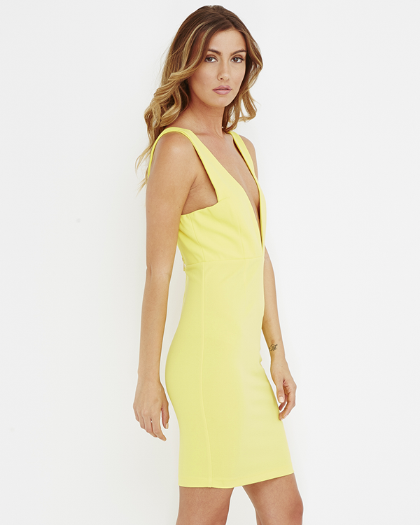 IN TOO DEEP Zippered Bodycon Dress in Yellow at FLYJANE