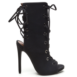 CADY Nubuck Lace Up Bootie in Black at FLYJANE | Kylie Jenner Lace Up Bootie | Shoe Republic LA CAPRICE Bootie in Black | Ankle Length Lace Up Open Toe Bootie